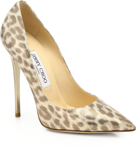 Jimmy Choo Anouk Leopardprint Shimmer Leather Pumps in Beige (LIGHT GOLD)