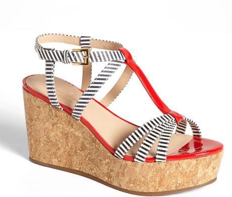 Kate Spade Tropez Wedge Platform Sandal In Red Navy Cream