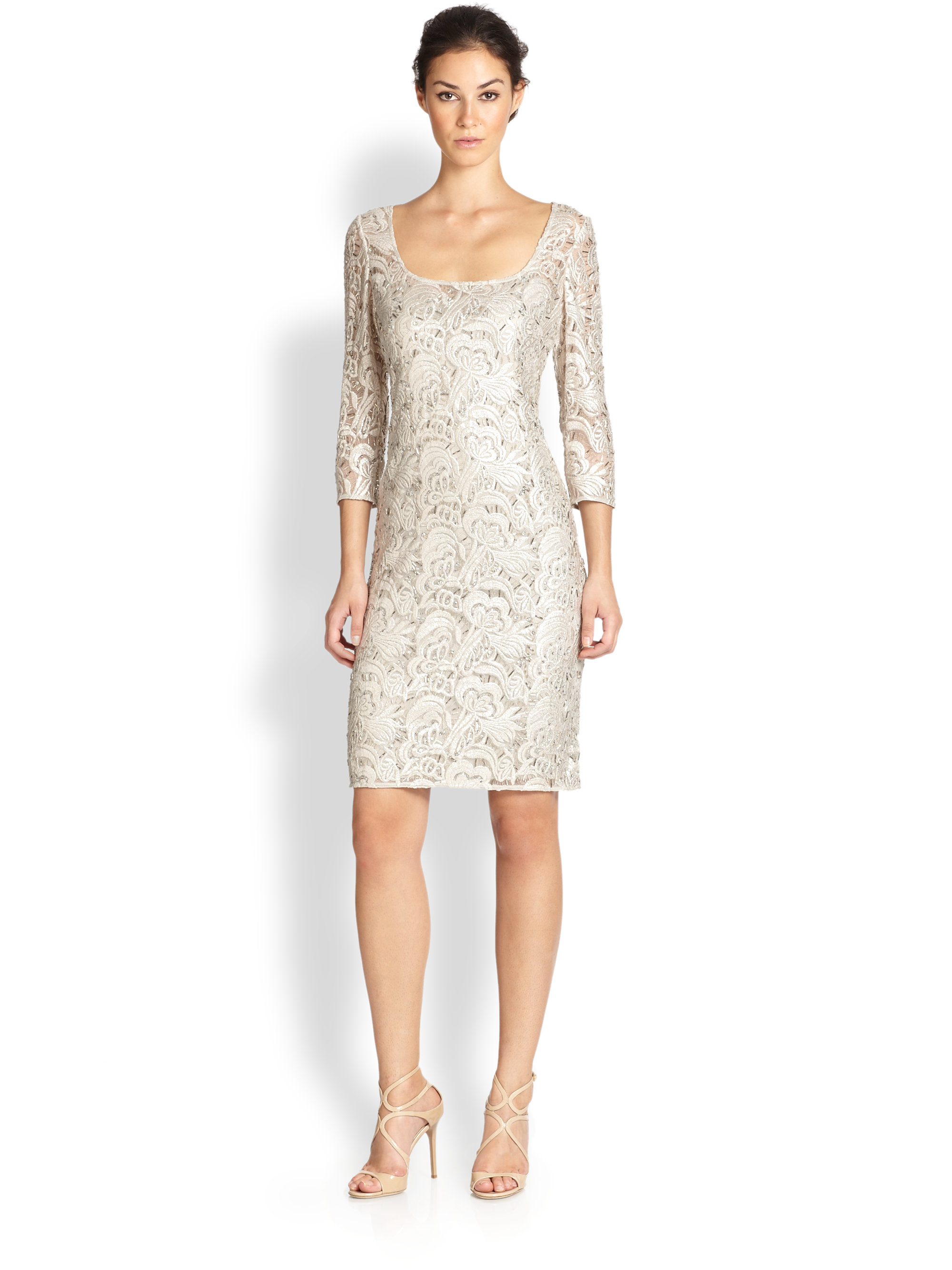 Kay unger Beaded Lace Sheath Dress in Gray | Lyst