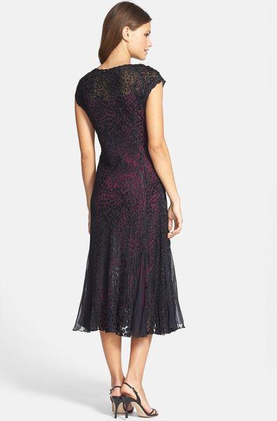 Komarov Cowl Neck Dress In Purple Black Magenta Lyst