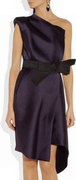 Lanvin One Shoulder Duchesse Satin Dress - Lyst