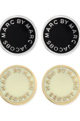 Marc By Marc Jacobs Enamel Logo Disc Stud Earrings Blacksilvertone - Lyst