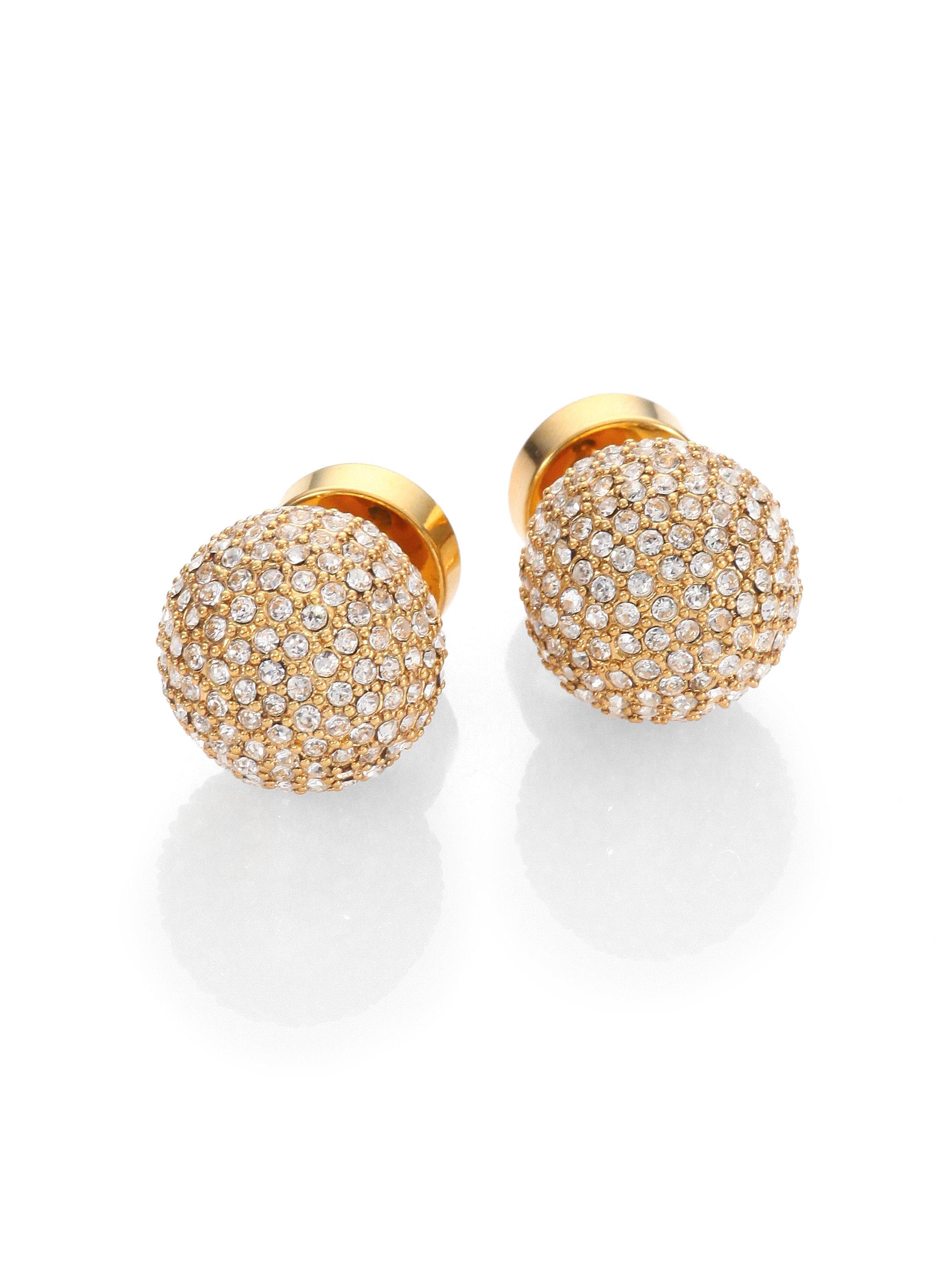Michael kors Pave Ball Stud Earrings in Metallic
