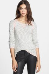 Milly Contrast Stitch Cotton Linen Sweater - Lyst