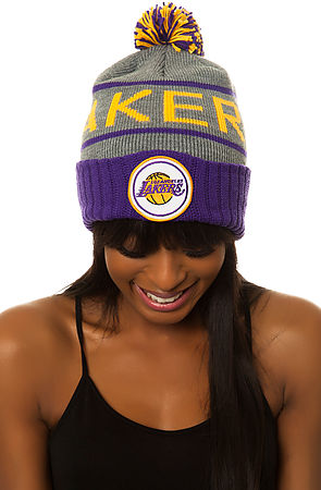 ae8f933027e Lyst - Mitchell   Ness The Lakers High Cuffed Pom Beanie in Gray