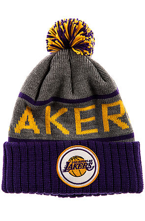 63a26f2fd1c Lyst - Mitchell   Ness The Lakers High Cuffed Pom Beanie in Gray