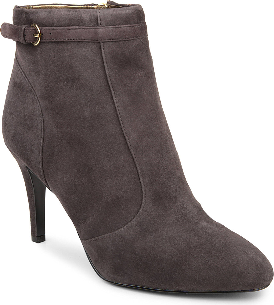 nine west mainstay suede ankle boots in gray grey lyst