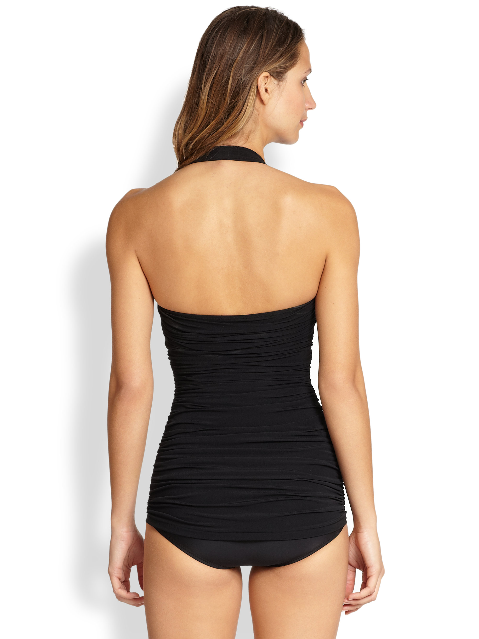 norma kamali one piece ruched maillot swimsuit in black lyst. Black Bedroom Furniture Sets. Home Design Ideas