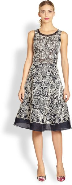 Oscar de la Renta Soutacheembroidered Silk Dress - Lyst