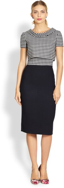 Oscar de la Renta Checked Bodice Pencil Dress - Lyst