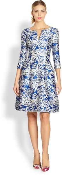 Oscar de la Renta Filigree Lace Print Dress - Lyst