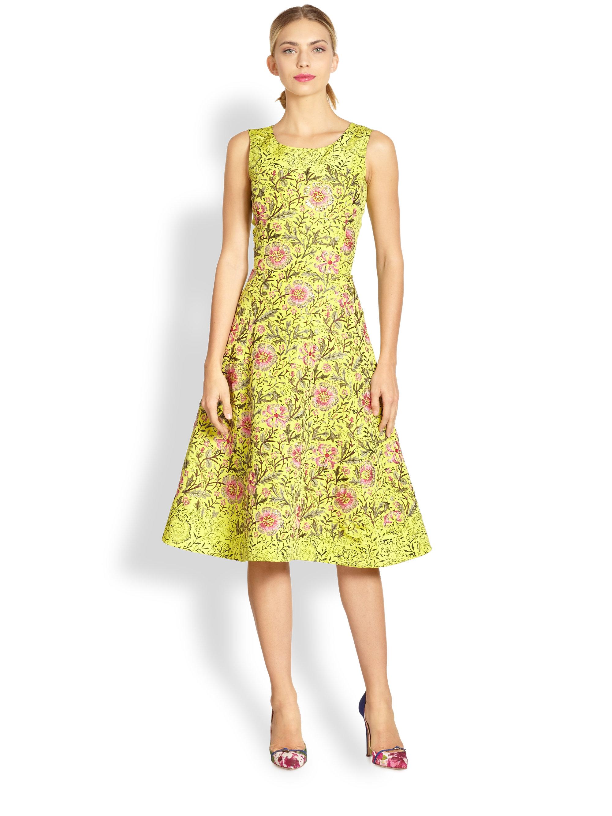 Lyst oscar de la renta silk floral embroidery dress in