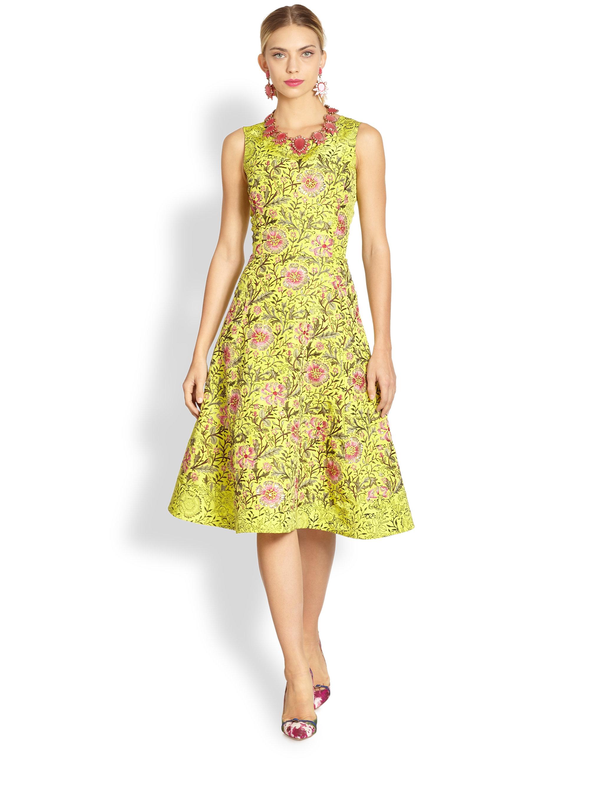 Oscar De La Renta Silk Floral Embroidery Dress In Yellow