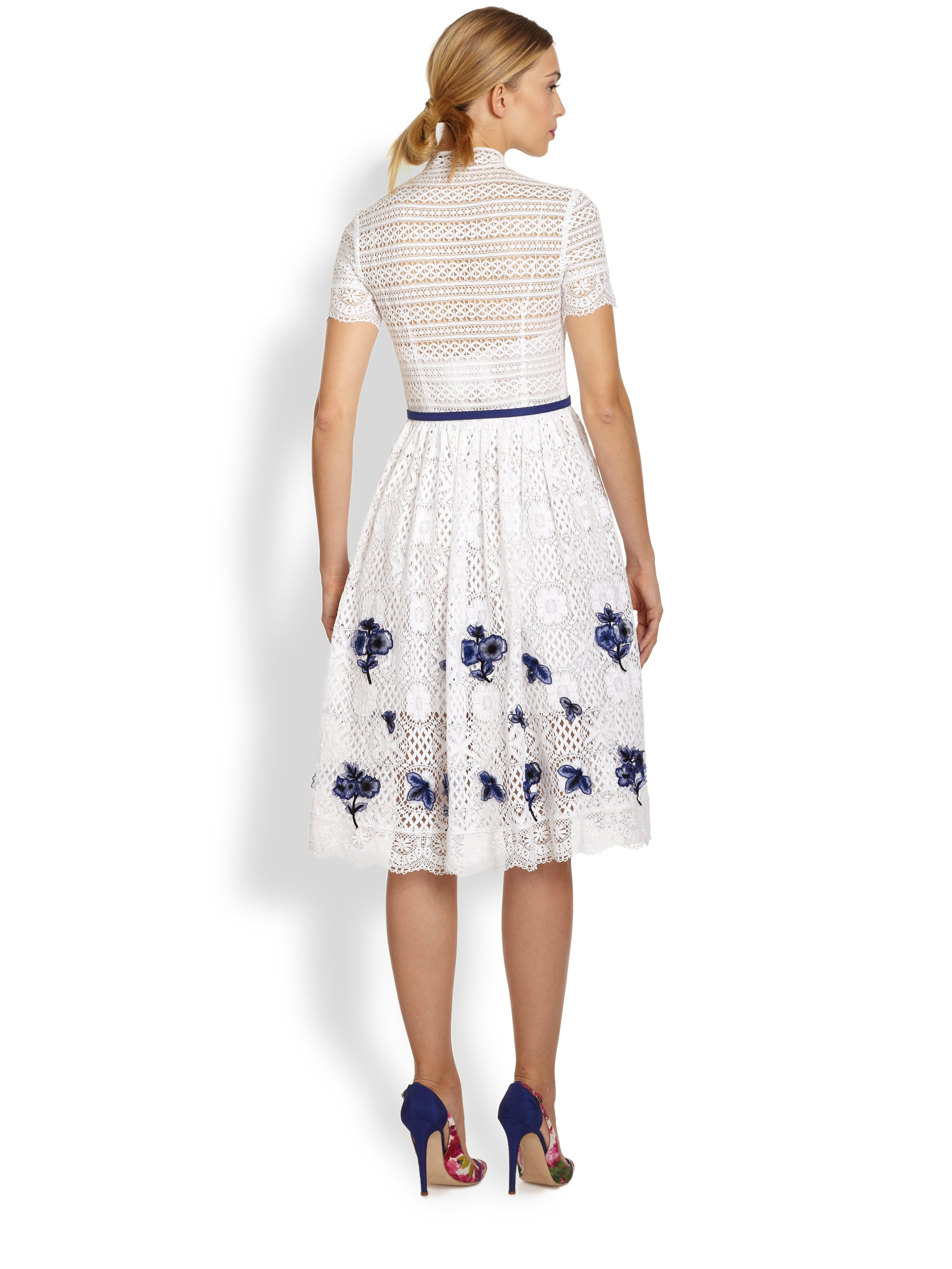 Lyst oscar de la renta lace floral embroidery dress in