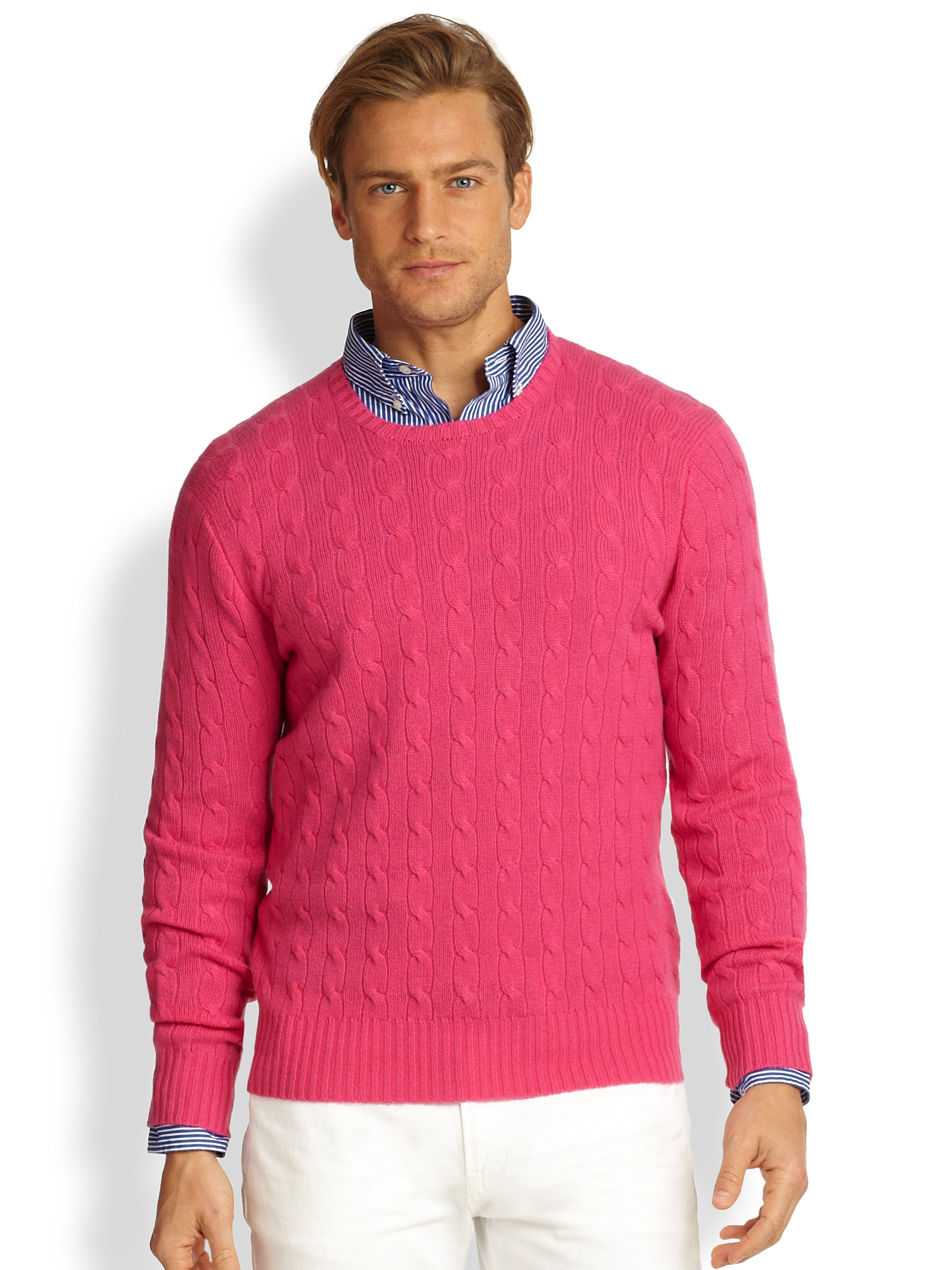 Polo ralph lauren Cableknit Cashmere Sweater in Pink for Men | Lyst
