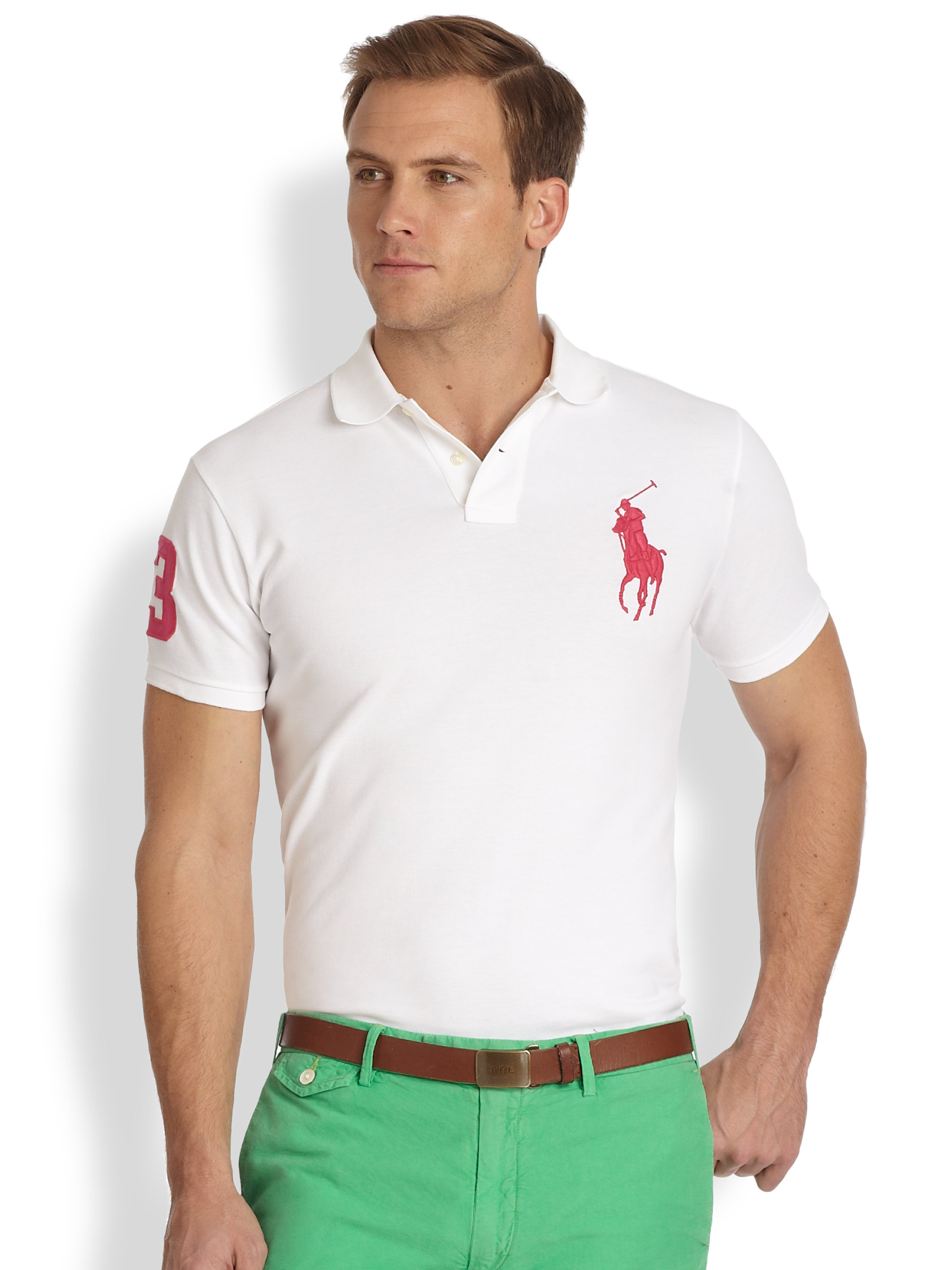 Polo ralph lauren Customfit Big Pony Cotton Mesh Polo in White for Men (WHITE PINK) | Lyst