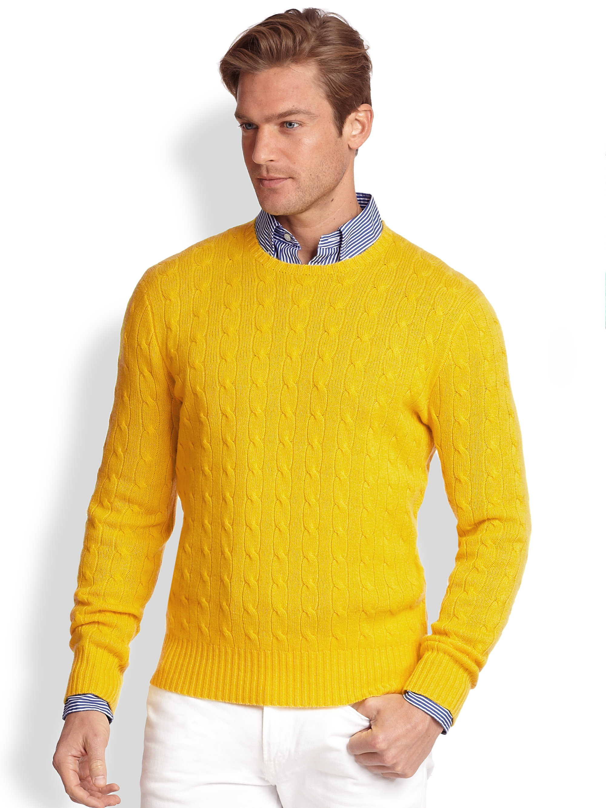 Polo ralph lauren Cableknit Cashmere Sweater in Yellow for Men | Lyst