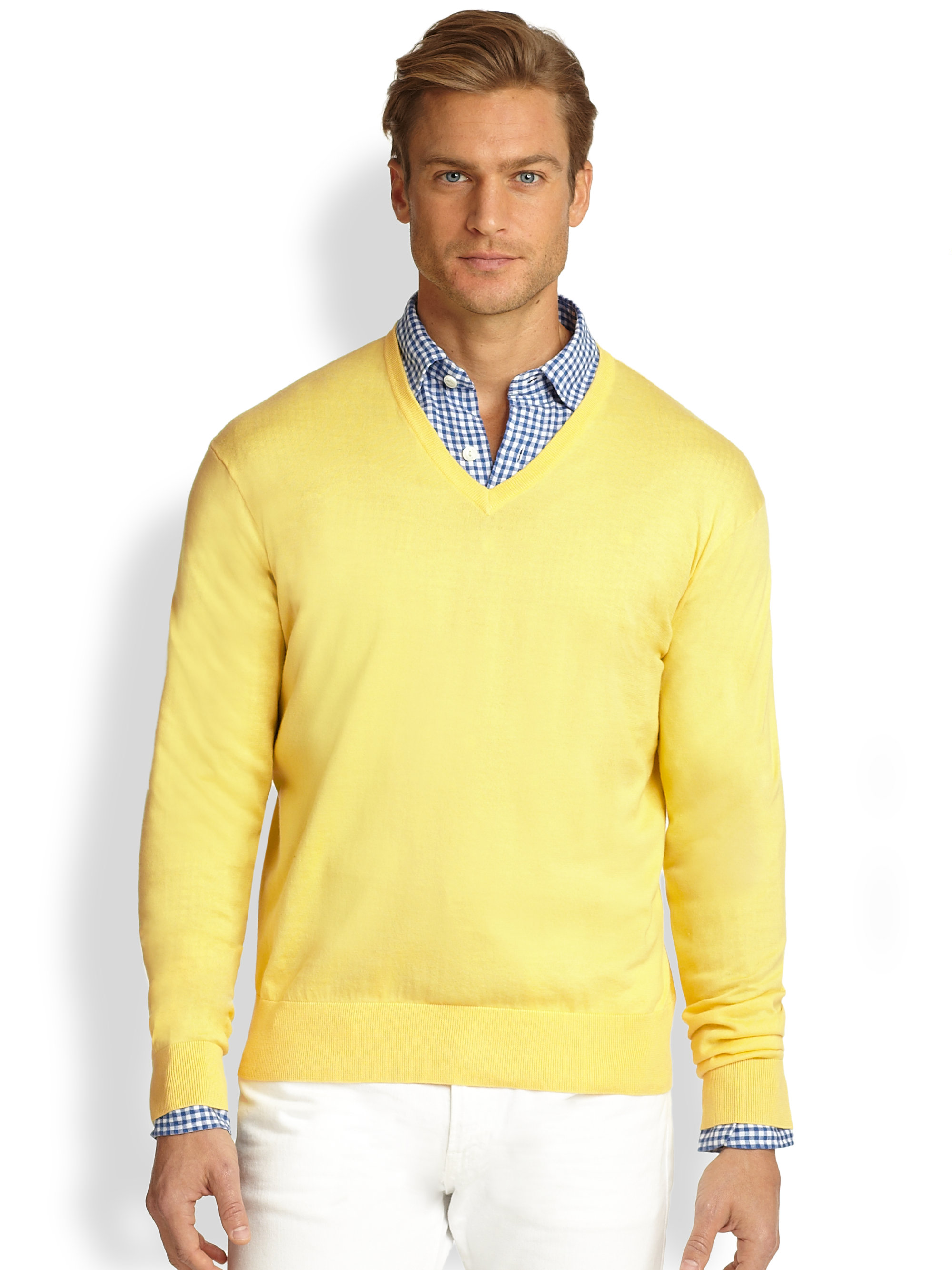 polo ralph lauren cotton v neck sweater in yellow for men lyst. Black Bedroom Furniture Sets. Home Design Ideas