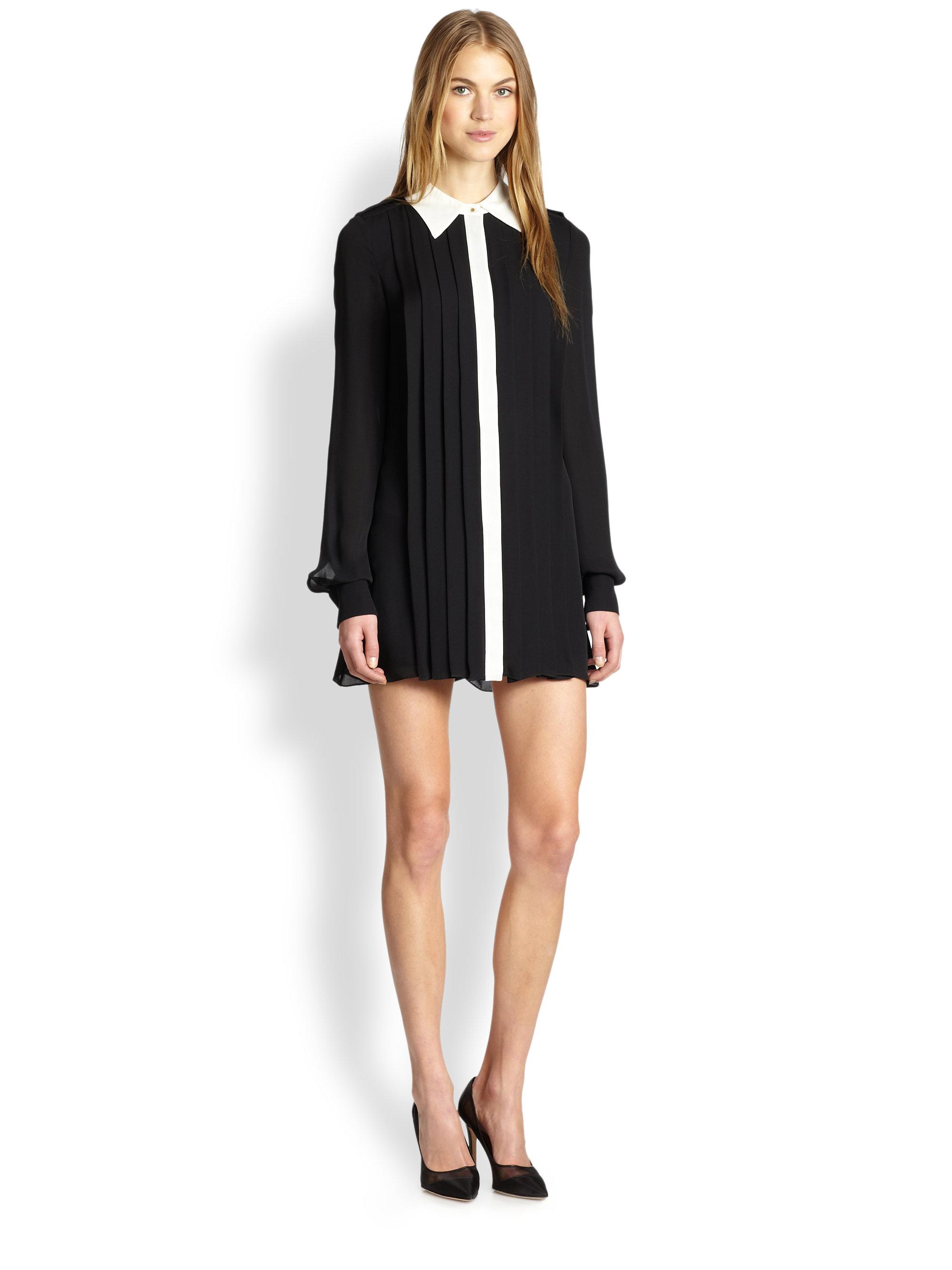 Rachel zoe laurel silk chiffon pleated shirt dress in for Black pleated dress shirt