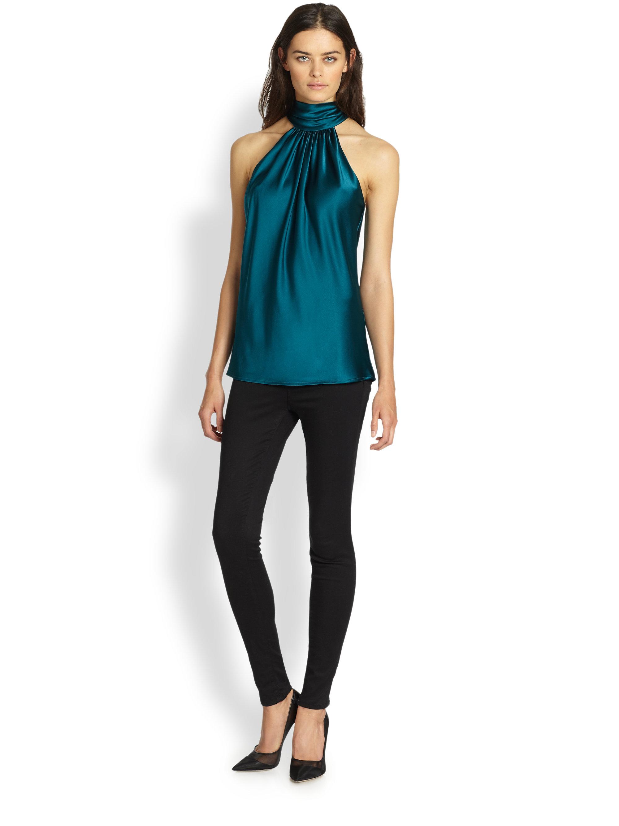dd0c73d491f Lyst - Ramy Brook Paige Silk Tie-neck Blouse in Green