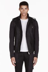 Rick Owens Black Leather Hooded Coat - Lyst