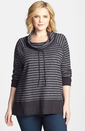 Sejour Stripe French Terry Cowl Neck Pullover - Lyst