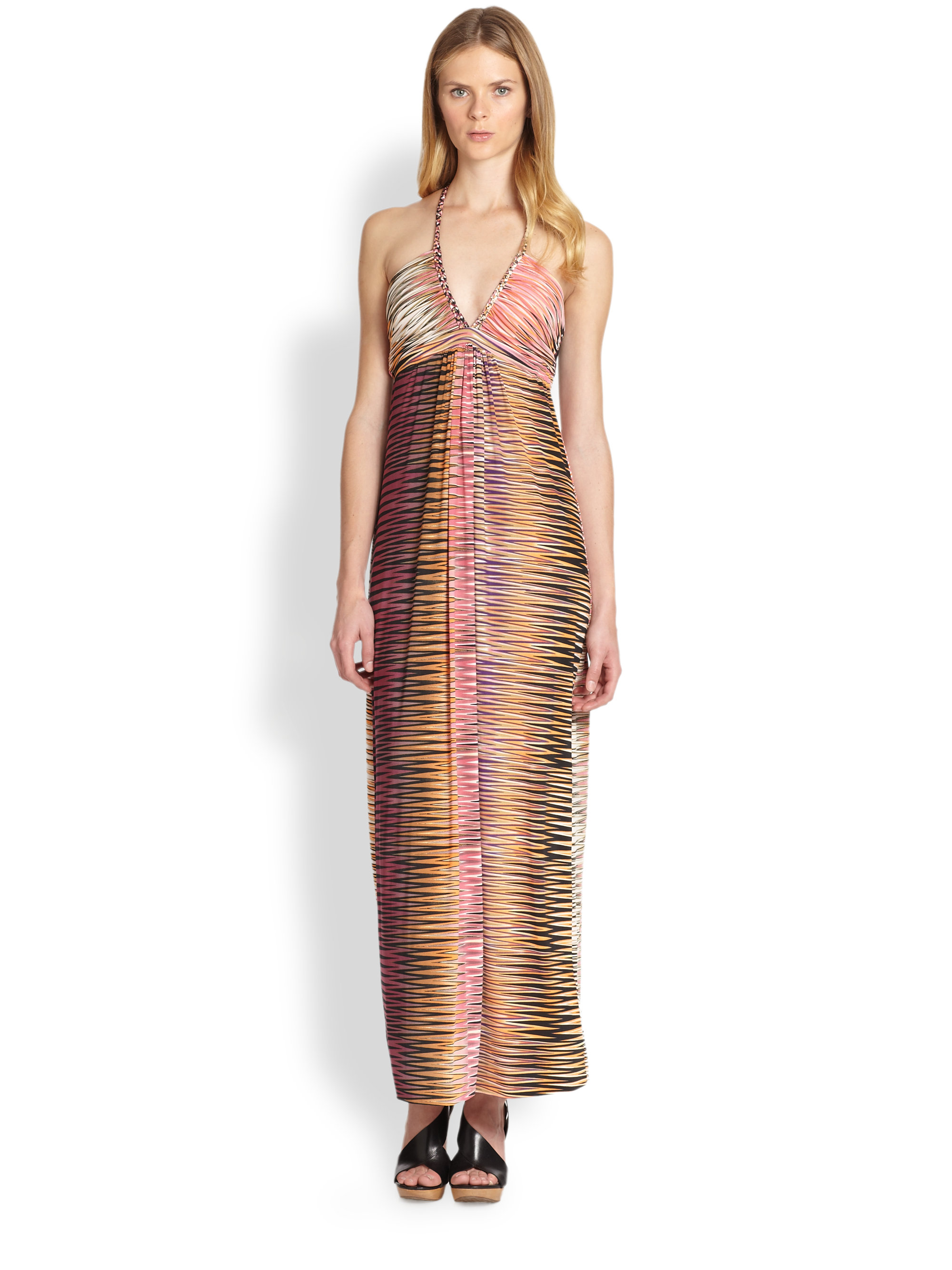 T bags printed halter maxi dress