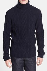 Topman Chunky Cable Knit Turtleneck Sweater - Lyst