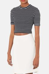 Topshop Stripe Crop Top - Lyst