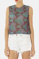 Topshop Floral Embroidered Shell - Lyst