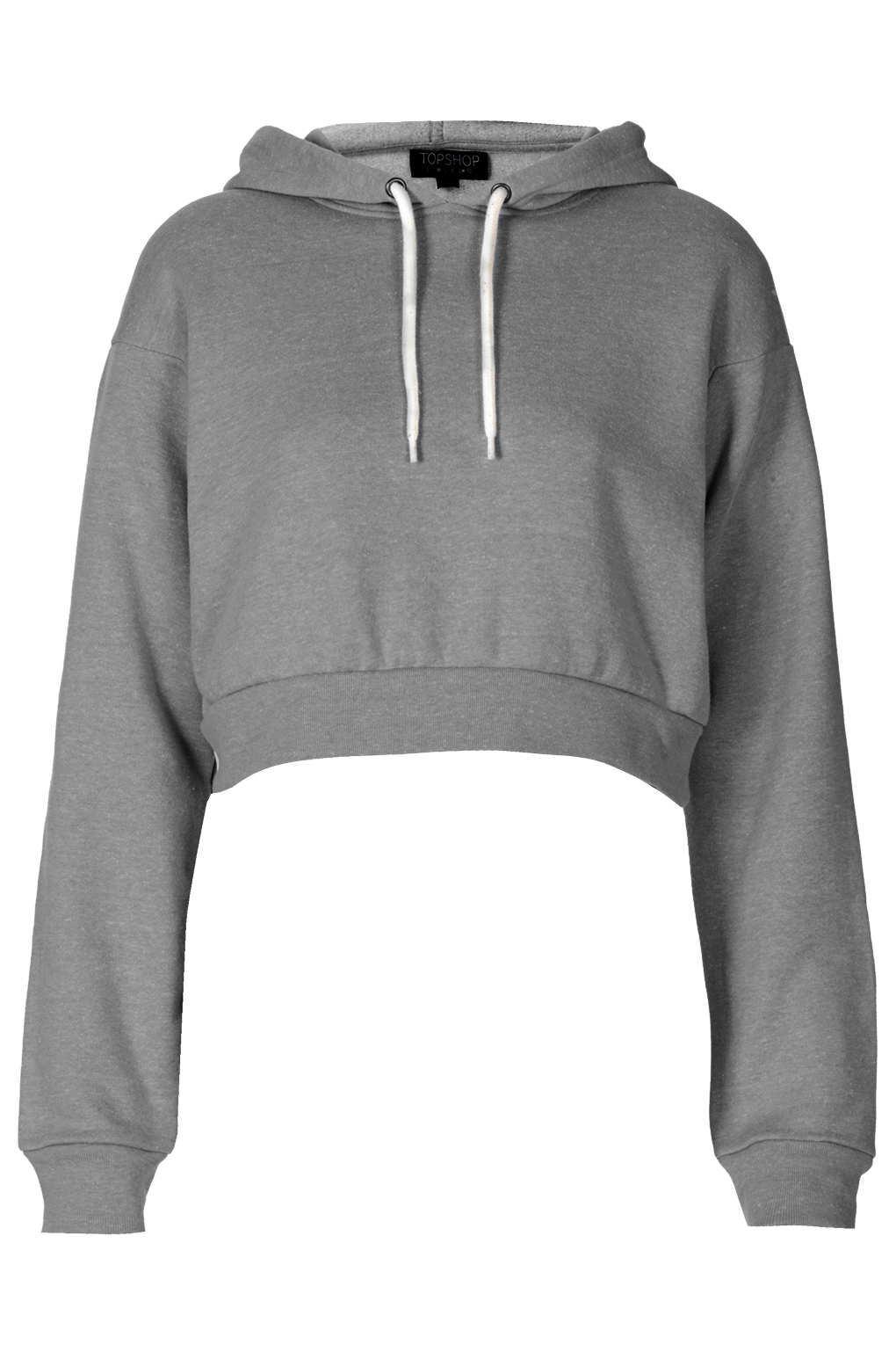 Topshop Crop Pull On Hoody in Gray | Lyst