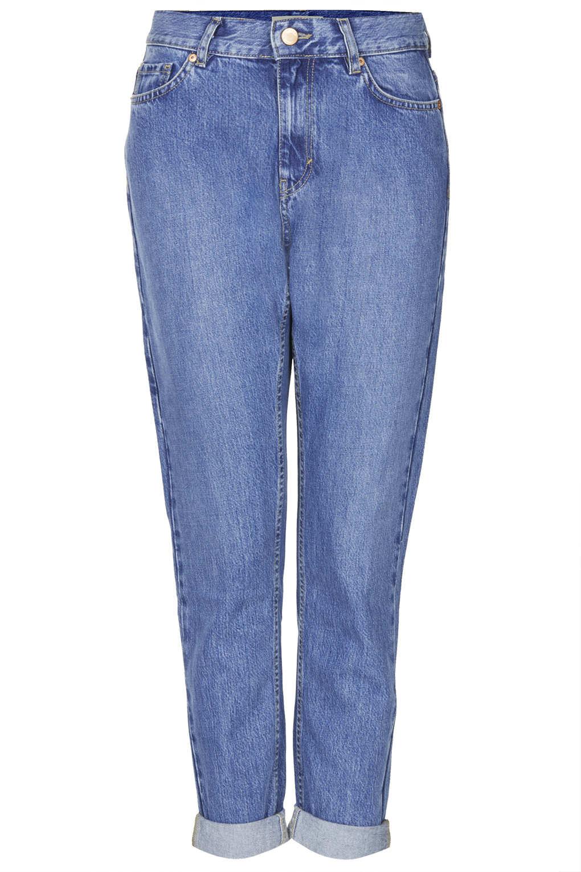 topshop petite moto soft vintage mom jeans in blue mid. Black Bedroom Furniture Sets. Home Design Ideas