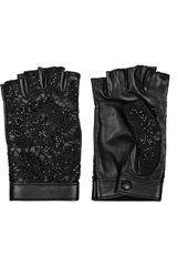 Valentino Embellished Leather and Lace Fingerless Gloves - Lyst
