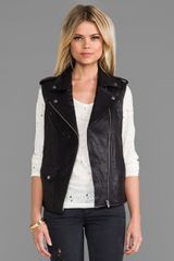 Veda Castor Classic Leather Vest In Black - Lyst