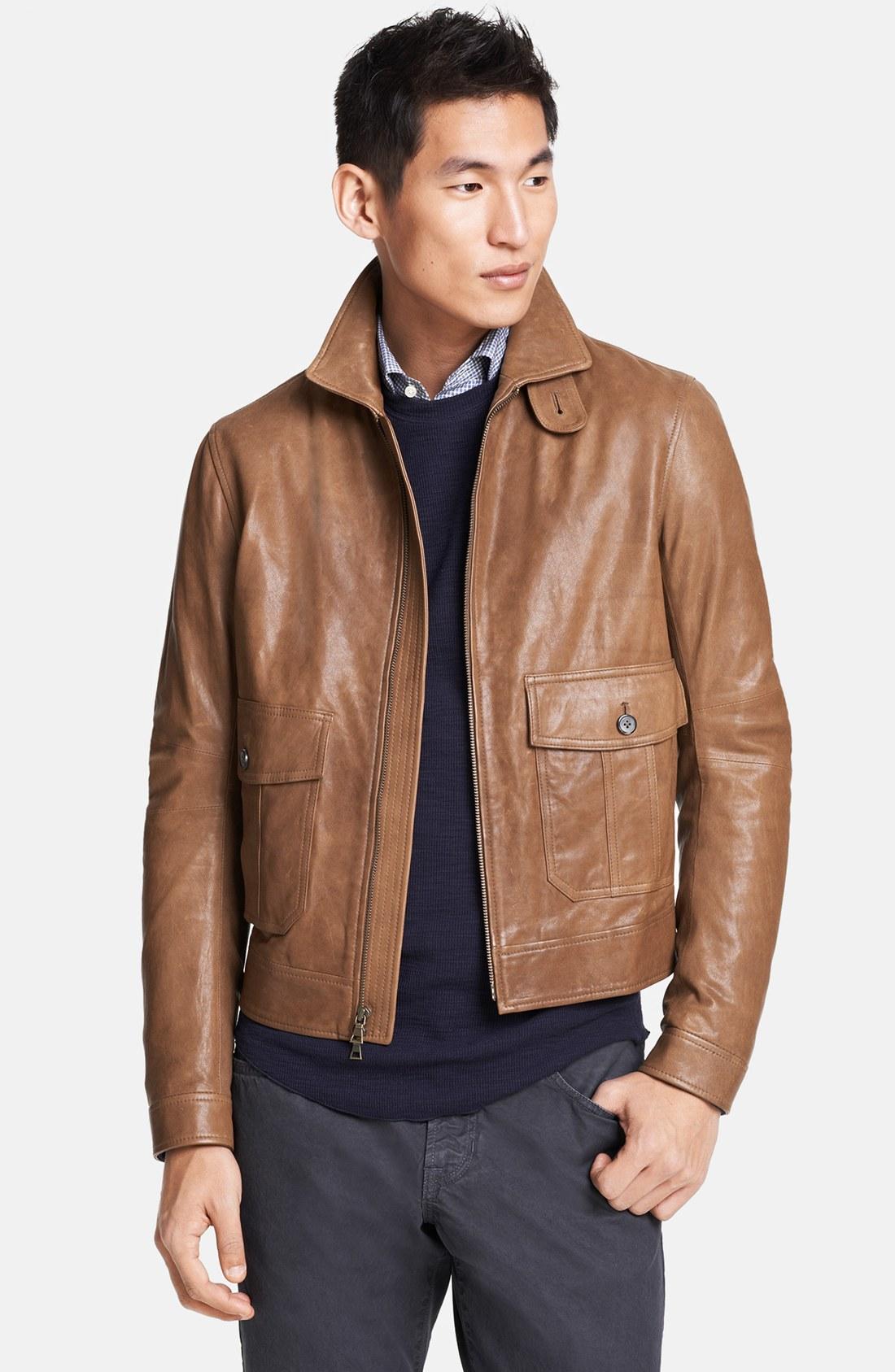 Vince Leather Bomber Jacket In Brown For Men Camel Lyst