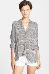 Vince Ladder Print Long Sleeve Blouse - Lyst