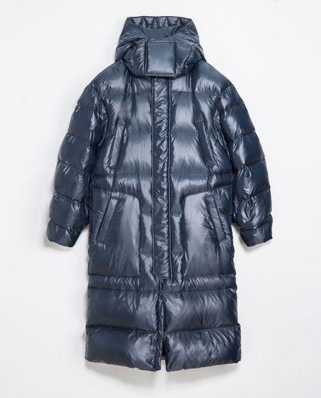 Zara Oversized Puffer Jacket In Blue For Men Electric