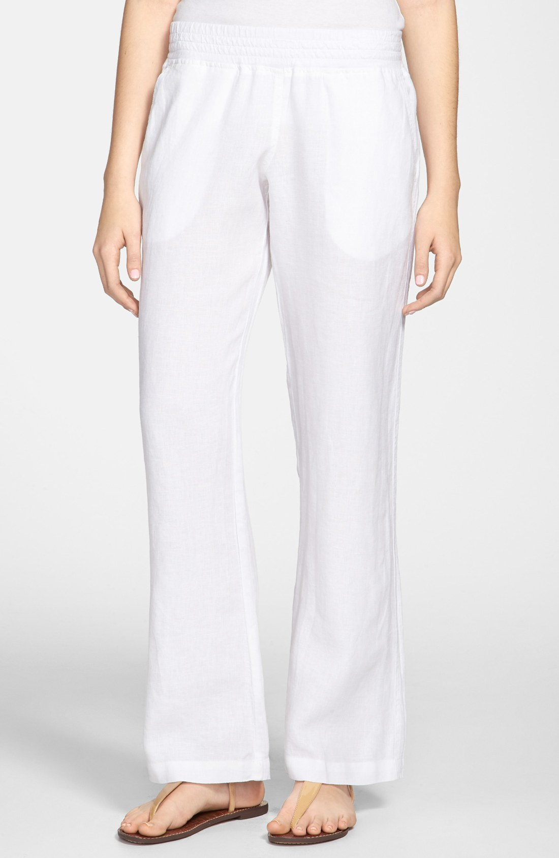 Allen Allen Linen Pants In White Lyst