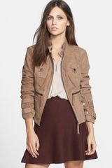 Blanc And Noir Suede Moto Jacket - Lyst