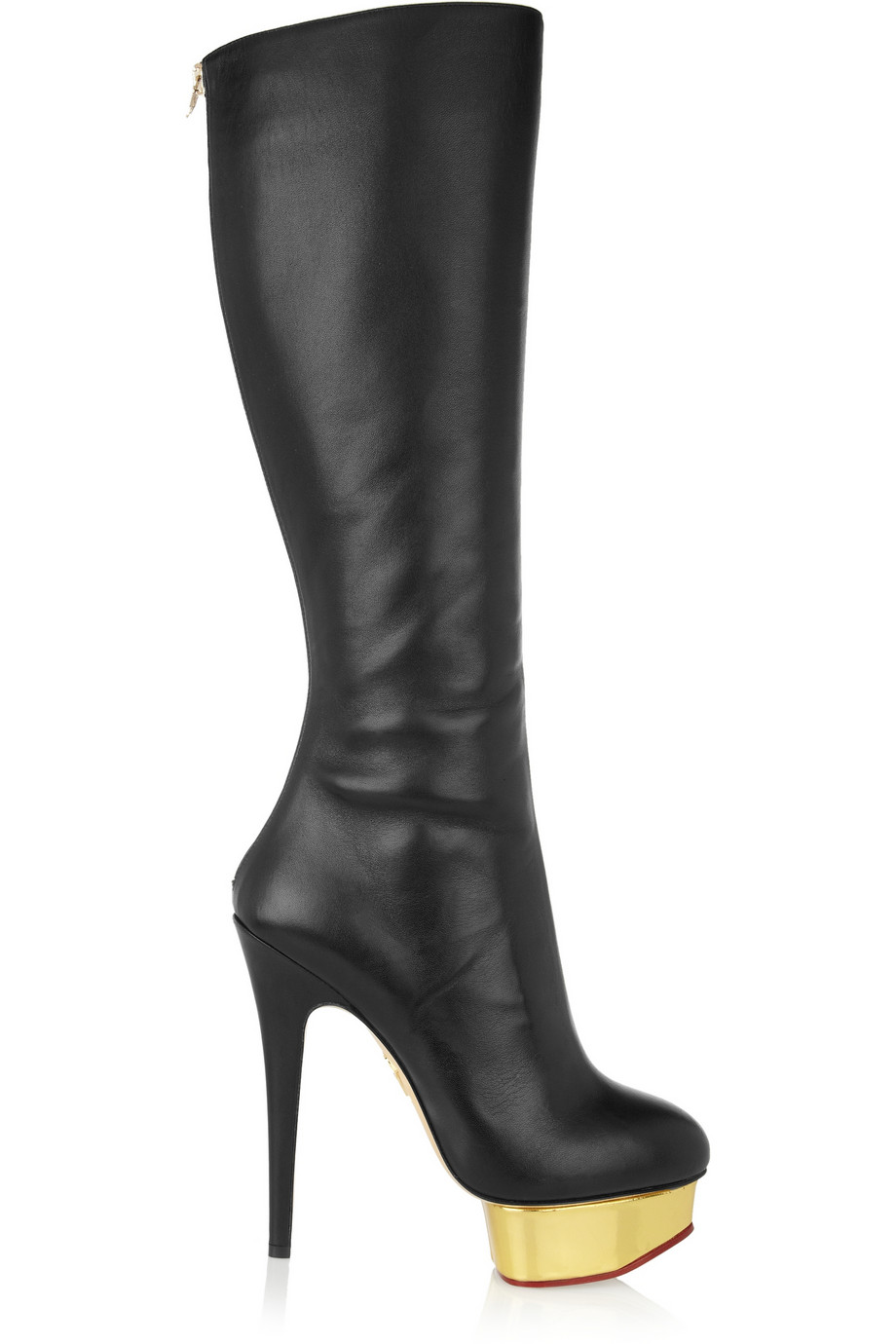 Charlotte olympia Bonnie Leather Platform Knee Boots in Black ...
