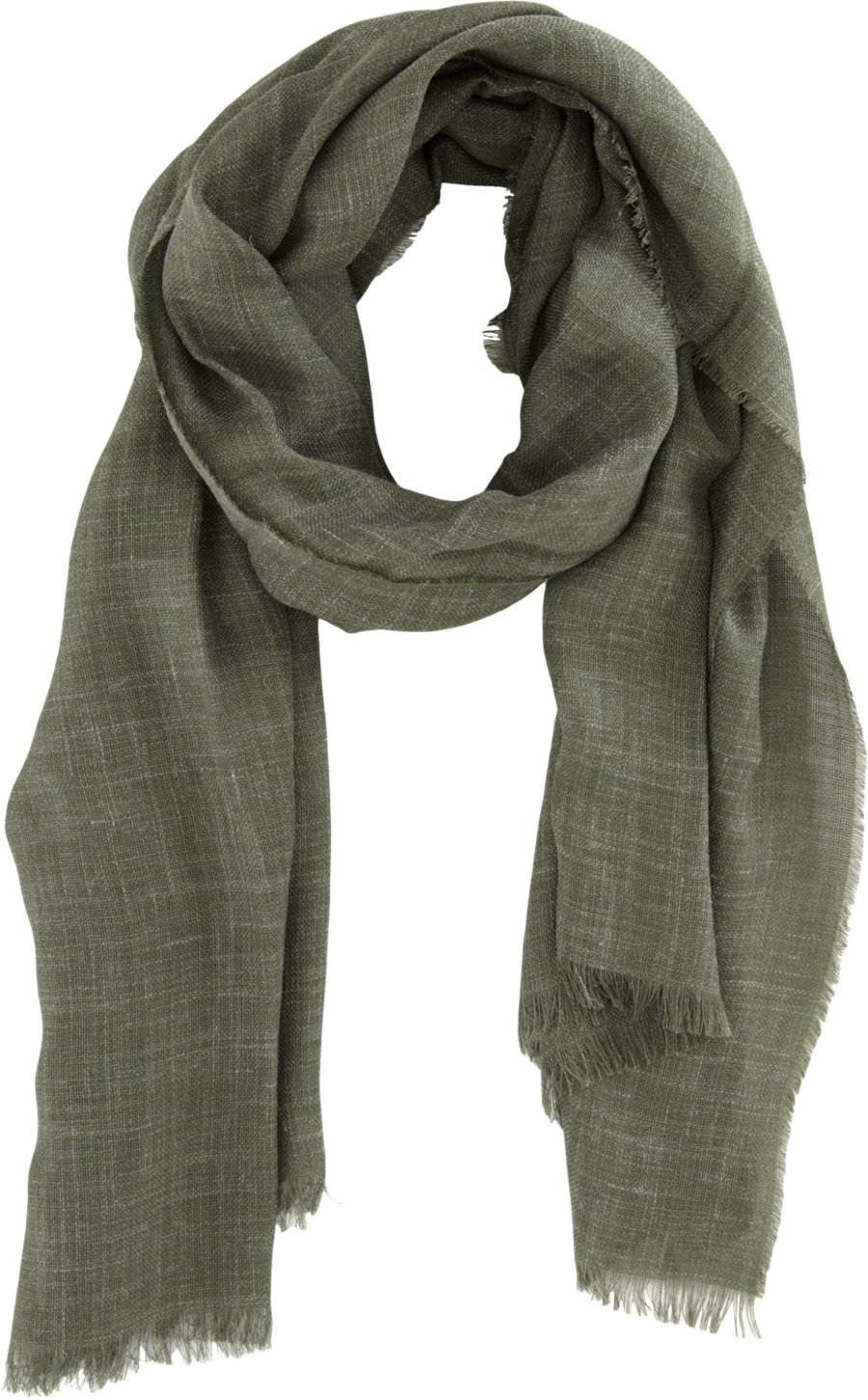 s fringed linen scarf in green for olive lyst