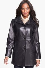 Ellen Tracy Leather Car Coat - Lyst