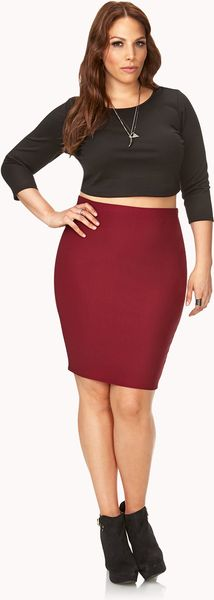 forever 21 posh ribbed pencil skirt in burgundy lyst