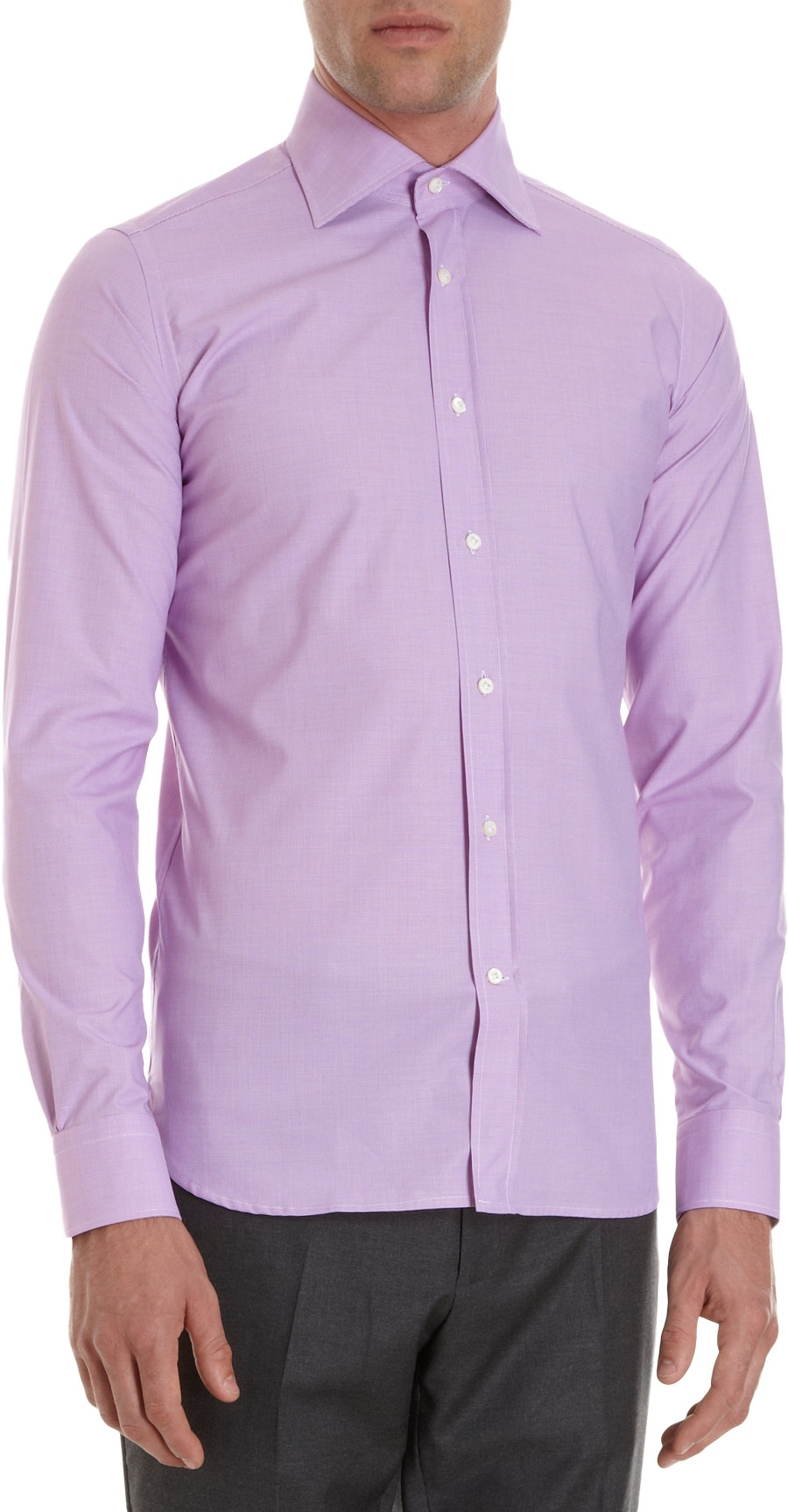 Guy rover Micro Check Dress Shirt in Purple for Men