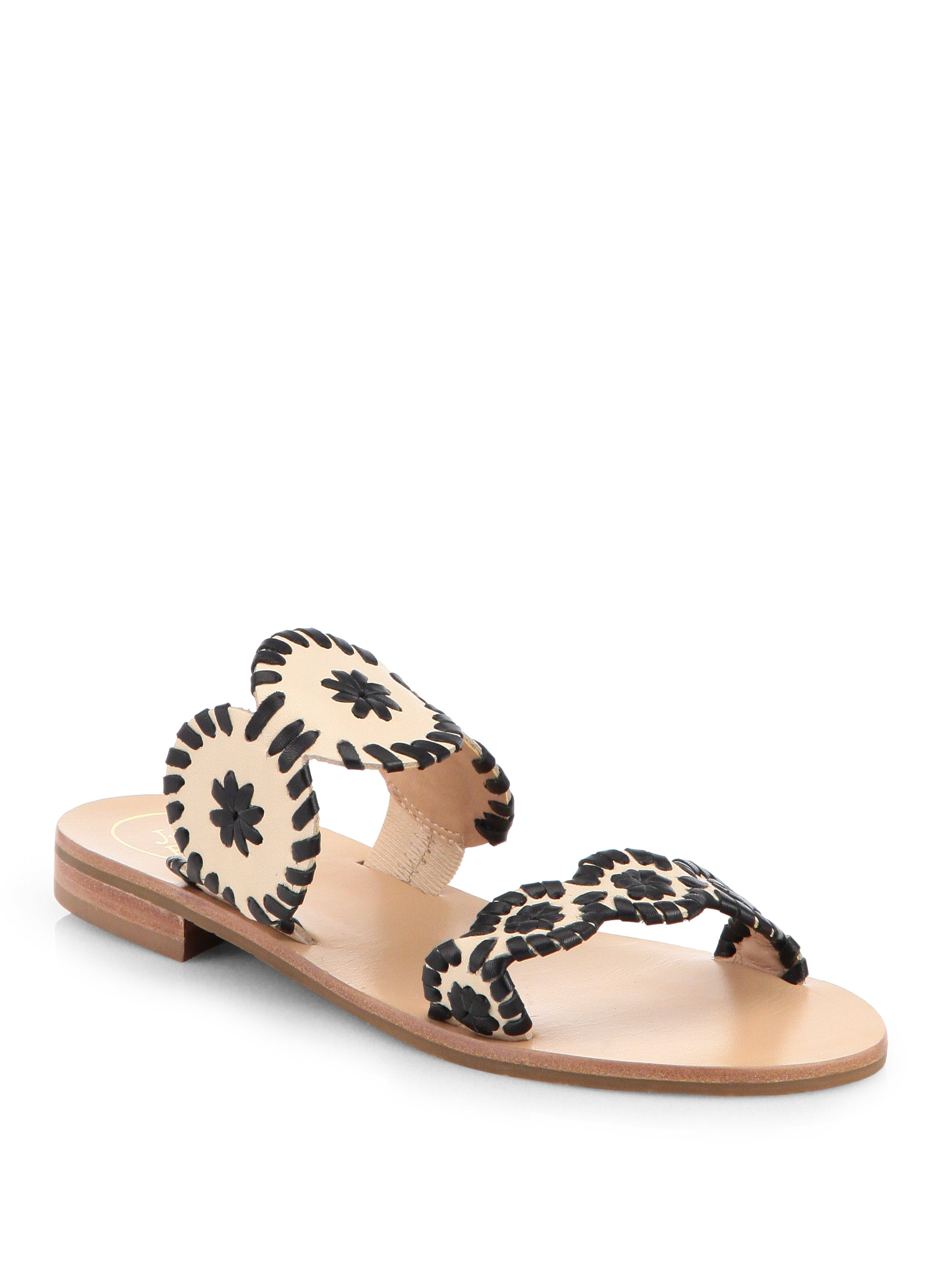 Jack Rogers Lauren Bicolor Leather Sandals In Black Bone