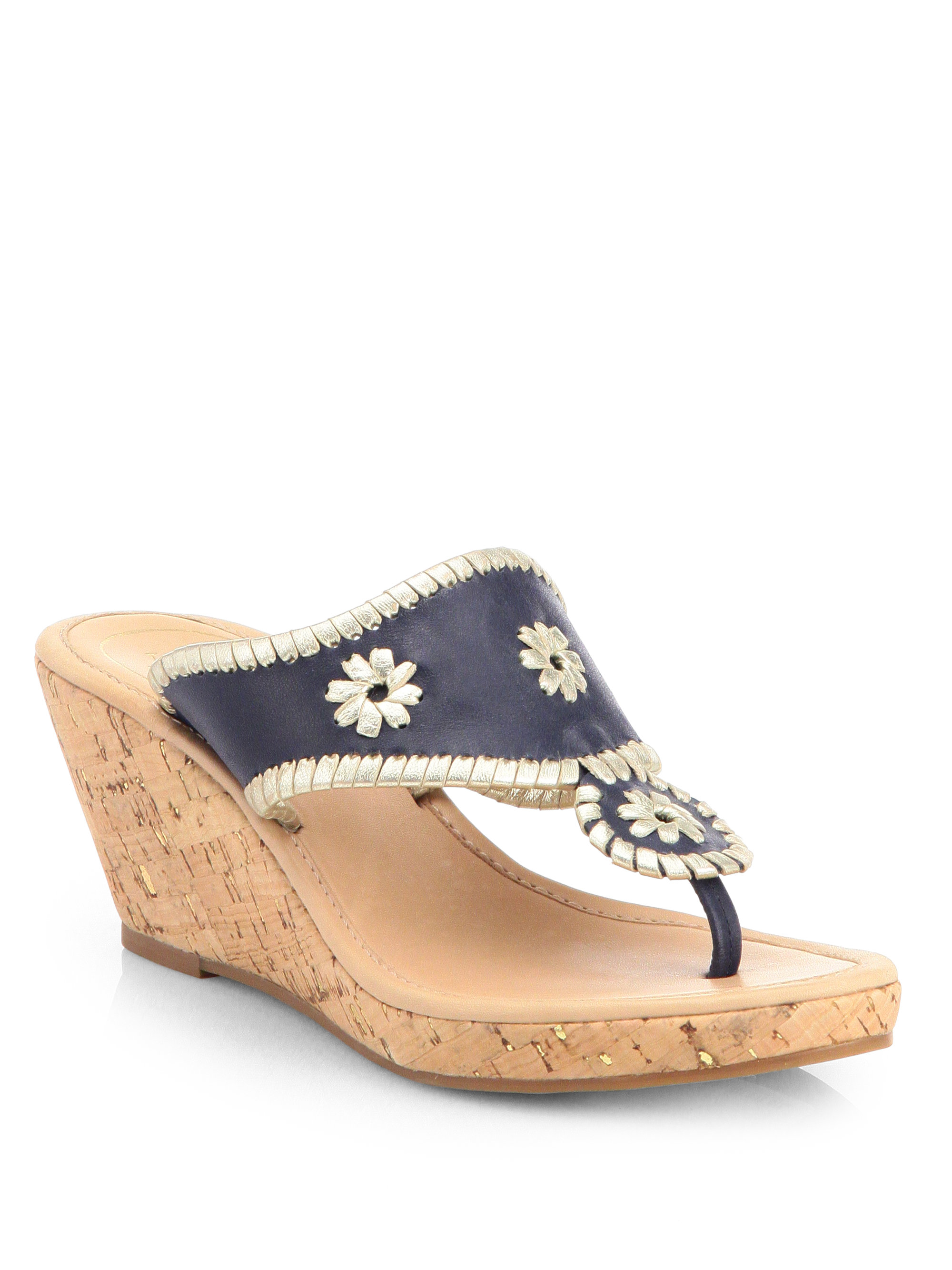 Lyst Jack Rogers Marbella Leather Cork Wedge Sandals In Blue
