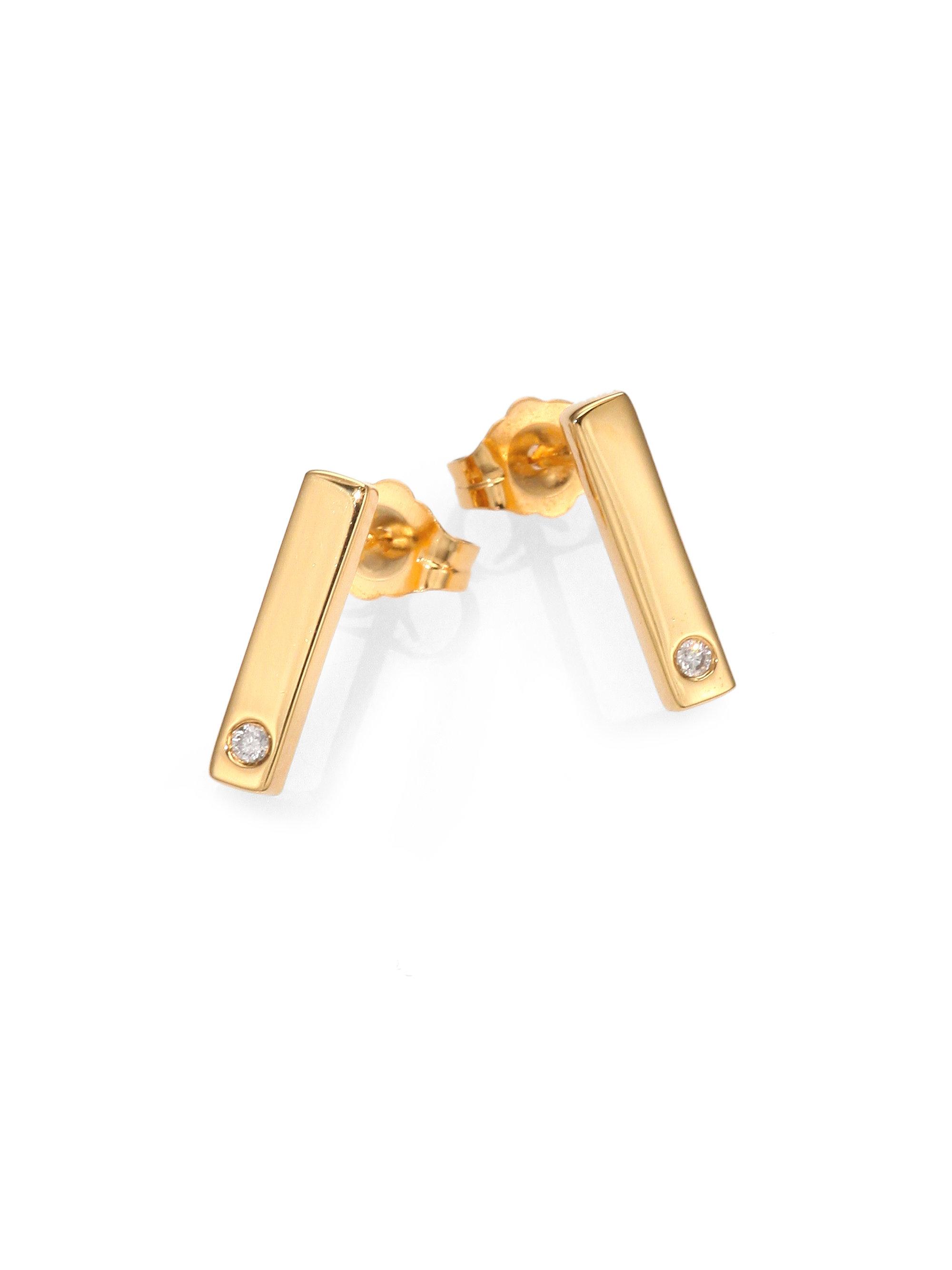 Lyst Jennifer Zeuner Diamondaccented Mini Bar Stud