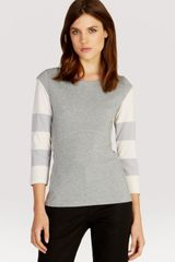 Karen Millen Tee Striped Sleeve - Lyst