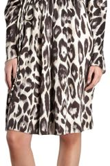 Lanvin Leopard Print Gathered Shoulder Dress - Lyst