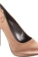 Lanvin Layered Satin Platform Pump - Lyst